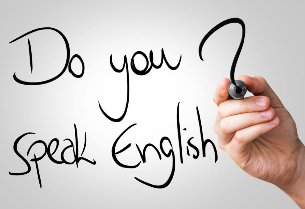 Do you speak English hand writing with a black mark